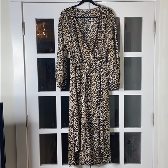 Leopard Print Wrap-Tie Dress